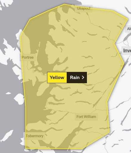 The area covered by the yellow warning. Picture: Met Office.