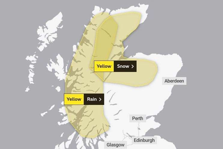 The areas covered by the two warnings. Picture: Met Office.