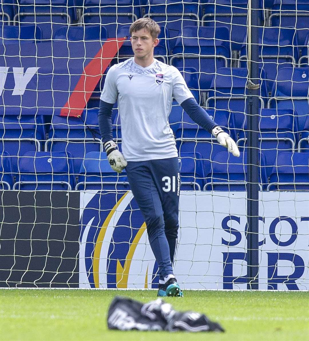 Picture - Ken Macpherson, Inverness. Ross County(1) v Dundee United(2). 15.08.20. Ross County 'keeper Ross Munro.