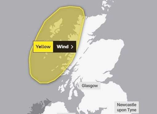 The area covered by the weather warning. Picture: Met Office.