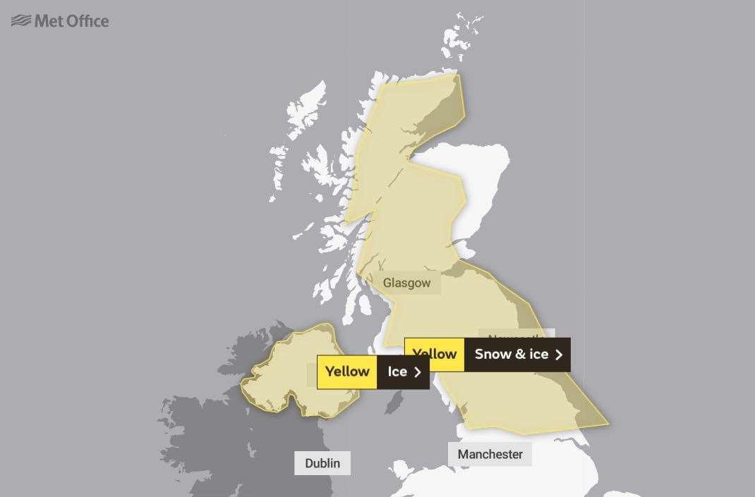 The wider UK weather warning which has been issued by the Met Office which lasts from Wednesday evening until Thursday morning.