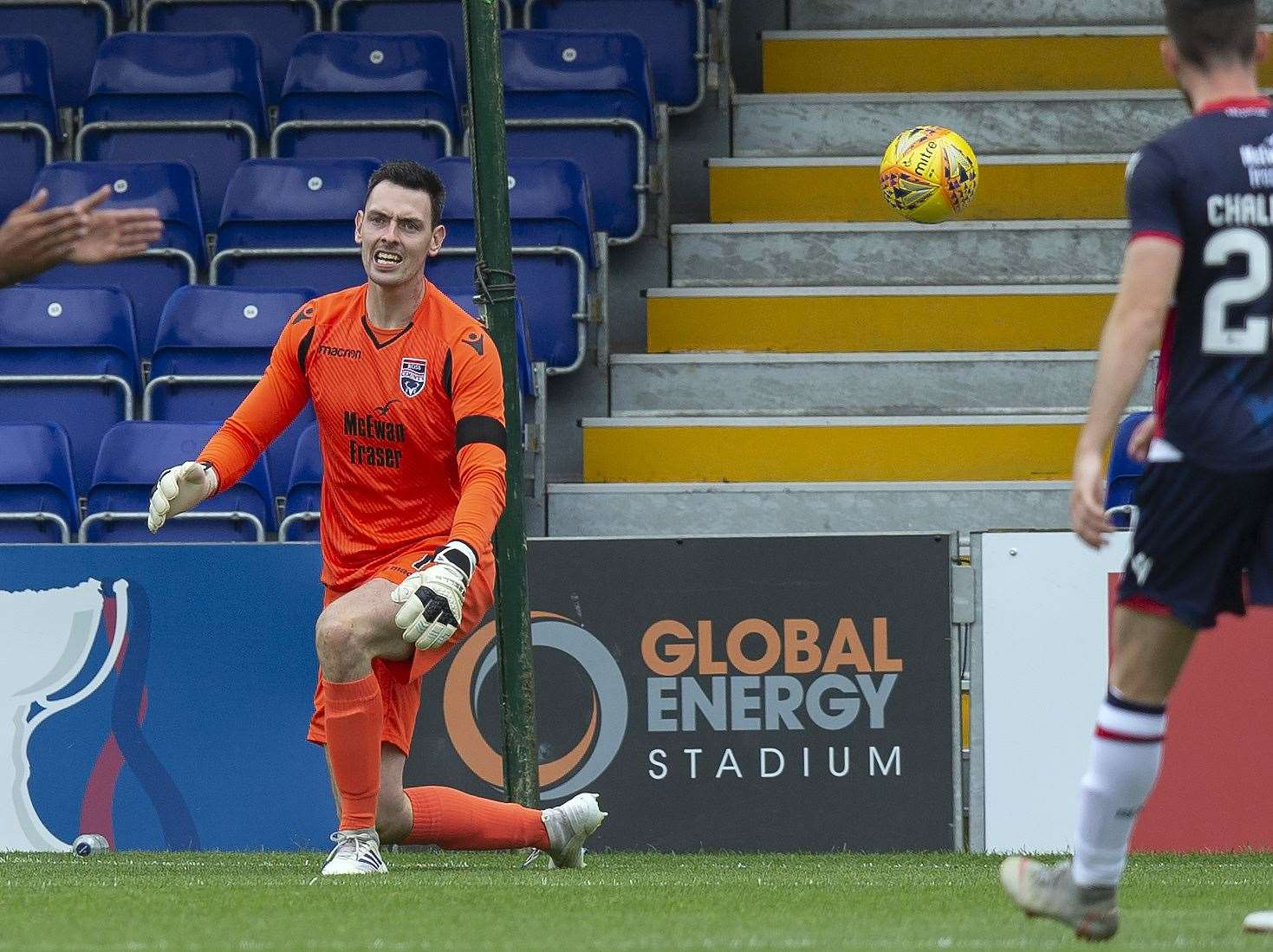 Picture - Ken Macpherson, Inverness. BetFred Cup. Ross County(4) v Montrose(1). 13.07.19. Ross County 'keeper Ross Laidlaw after making a superb save by tipping a net-bound shot from Montrose's Josh Skelly over the bar.