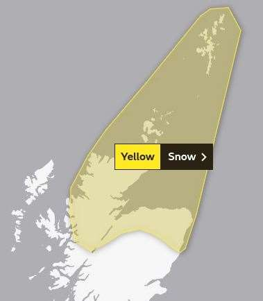 The area covered by the new yellow warning, which runs from 7pm on Tuesday until 10am on Wednesday: Picture: Met Office.