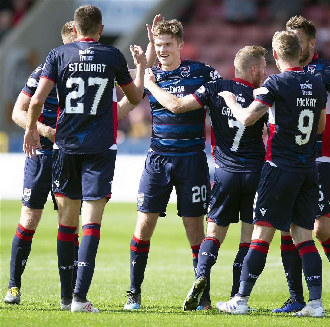Picture - Ken Macpherson, Inverness. BetFred Cup 2nd Round Partick Thistle(3) v Ross County(2). 17.08.19. Ross County's Blair Spittal celebrates his goal.