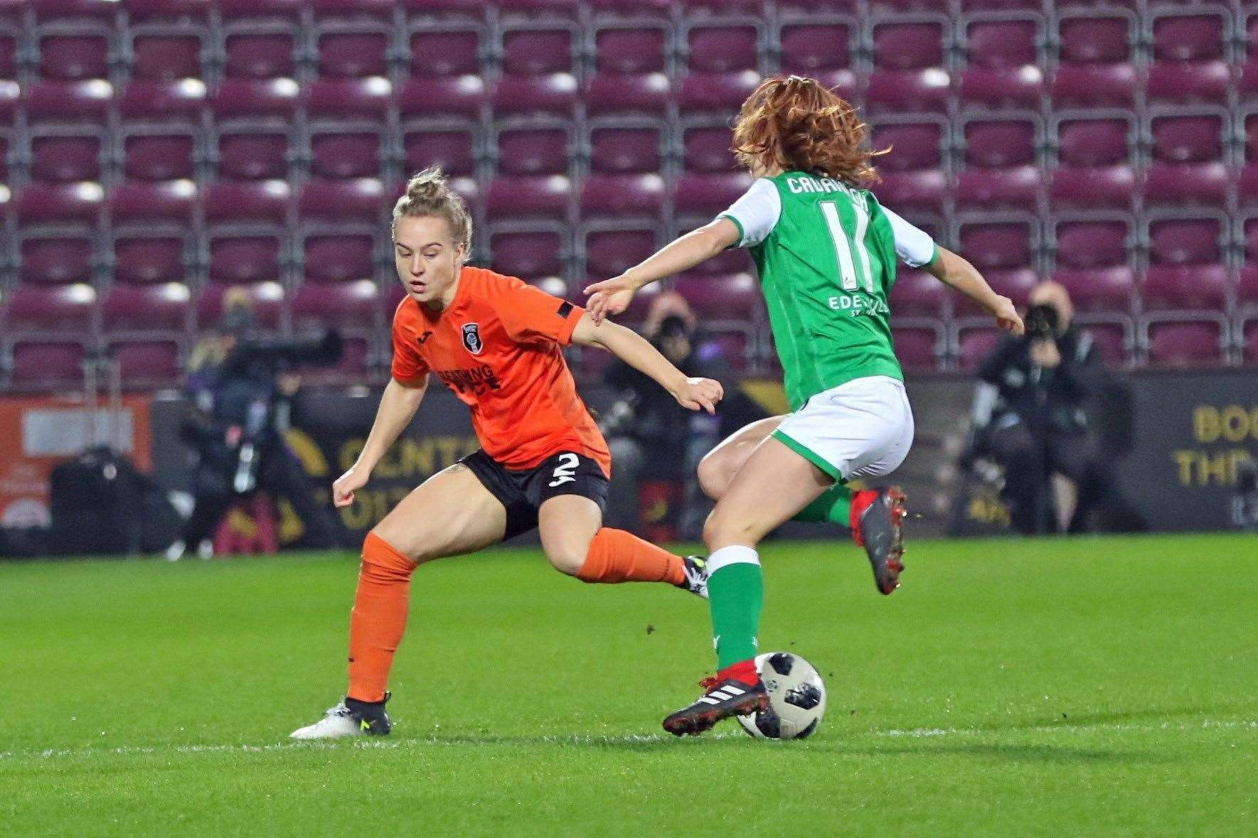 Rachel McLauchlan watches her opposite number closely as Glasgow City takes on Hibernian in the 2019 Scottish Cup final. Picture: Tommy Hughes