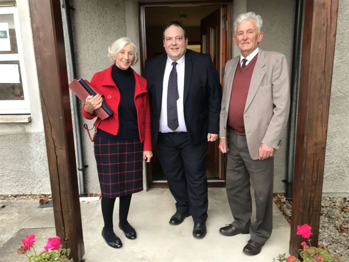 Anne Anderson (Chairman, Highland Conservatives), Jamie Halcro Johnston and Reg Holder (Vice Chairman, Highland Conservatives) after the selection meeting.