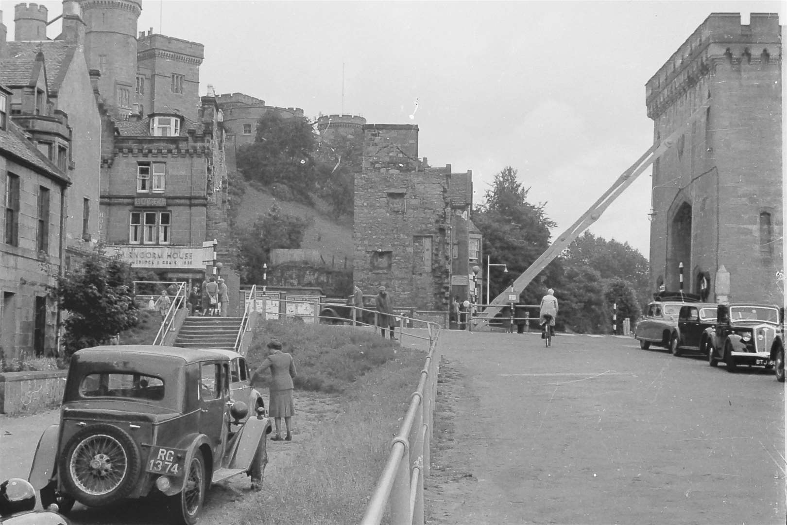 The bottom of Bridge Street in the early 1960s when the demolition of the old bridge had begun but the tower remained in place.
