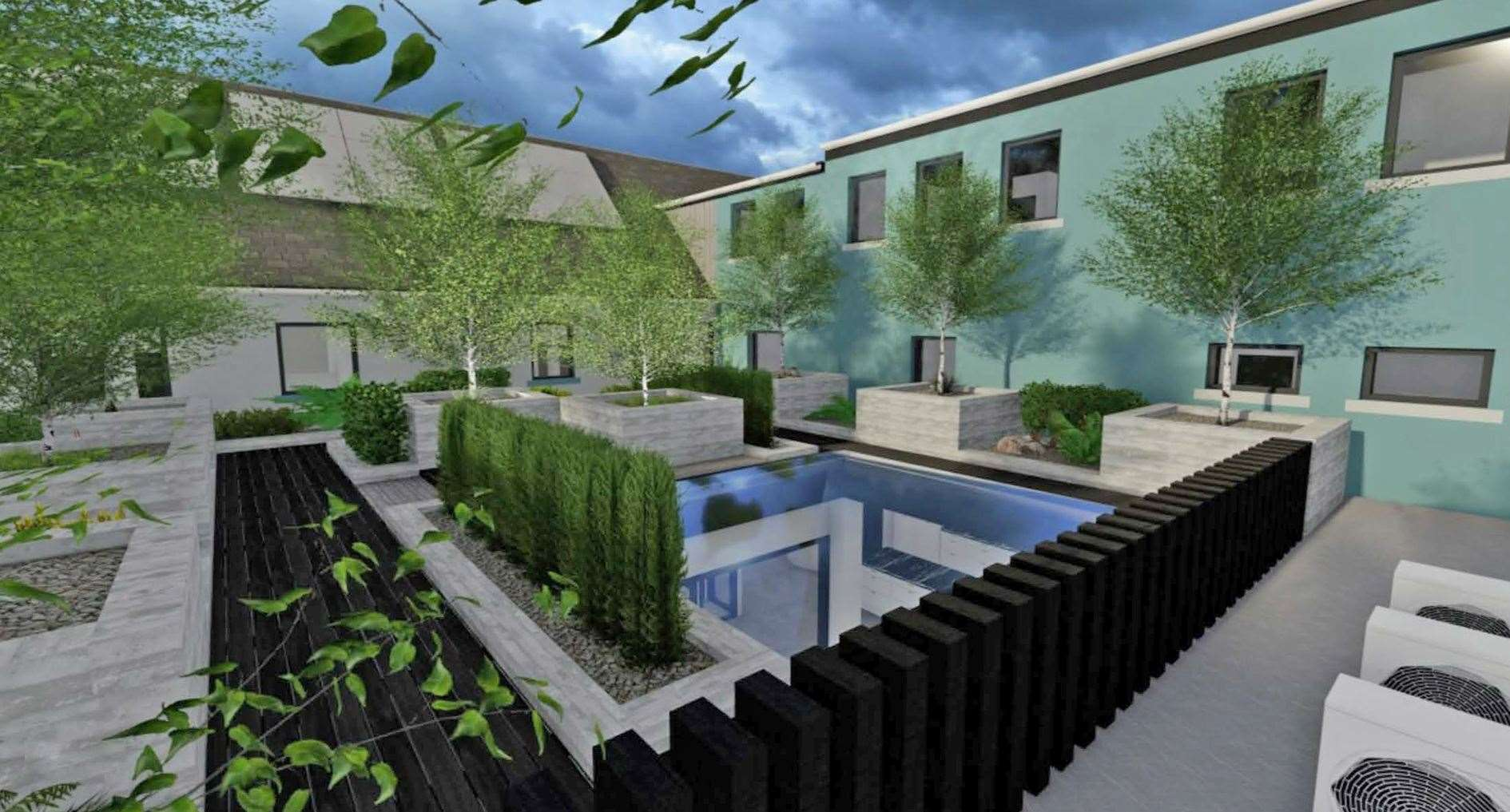 Artist's impression of the landscaped courtyard.