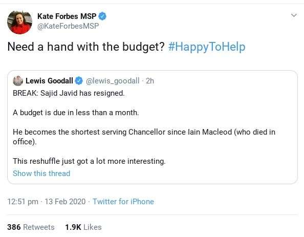The Tweet from Kate Forbes. The number of likes had jumped even further - to more than 2300 - by the time of writing.