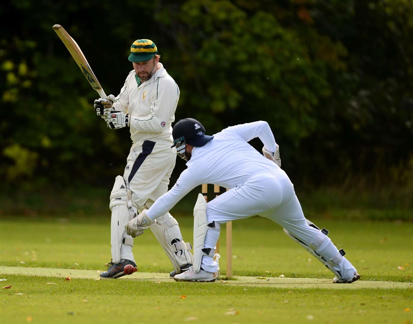 Ross County opener Duncan Scott has to be careful with Northern Counties wicket keeper Will Ford up to the stumps. Picture: Gary Anthony