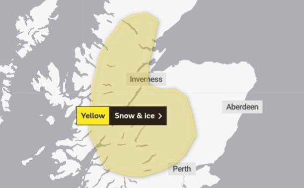 The snow and ice alert covers many parts of the Highlands. Picture: Met Office.