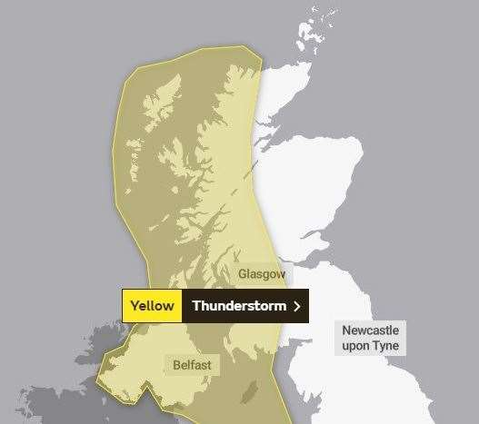 The first alert, which runs from 4pm on Thursday until 9am on Friday. Picture: Met Office.