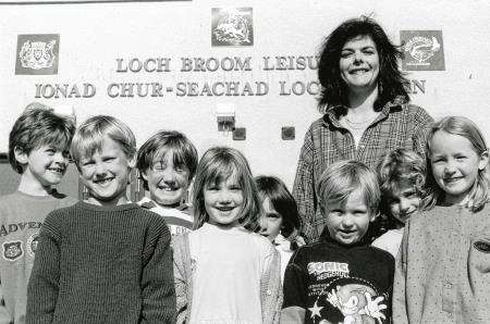 Gaelic teacher Morag Ann MacLeod with her pupils outside Ullapool Leisure Centre in May, 1997.