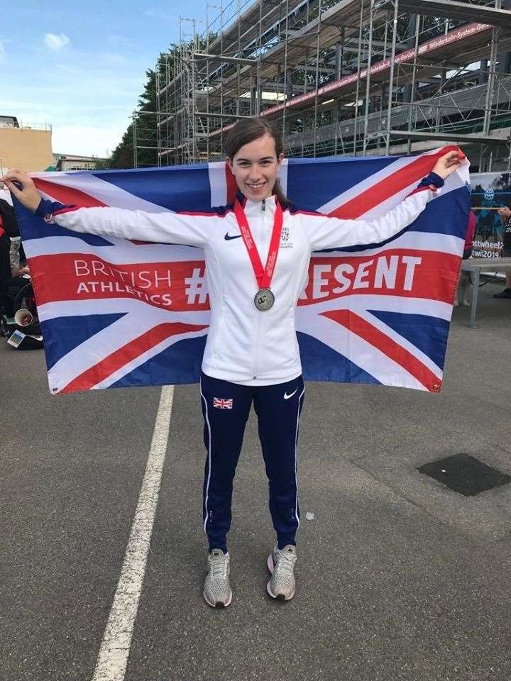 Abbie McNally pictured with her silver medal in Switzerland.