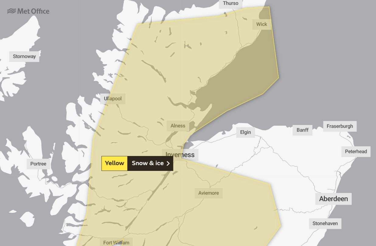 The weather warning which has been issued by the Met Office which lasts from Wednesday evening until Thursday morning.