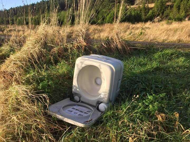 This toilet was found abandoned near Ousdale Broch.
