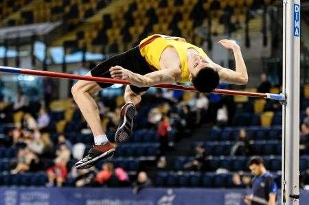 Dingwall's Angus Davren won a silver medal in the high jump at the Scottish Athletics Indoor Championships in Glasgow last weekend. Picture: Bobby Gavin