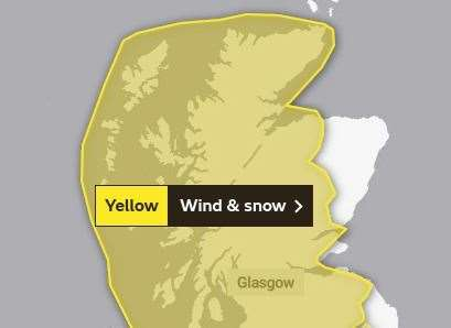 A yellow weather warning remained in place across all of Ross-shire on Monday. Picture: Met Office.