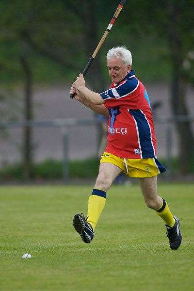 "Shinty expert Hugh Dan MacLennan make a cameo for the Gaelic speakers side v Ireland in Oban 2007. He says of the fixture: ""It was the last time I picked up a caman in anything approaching anger. Playing with/against folk half my age!"""