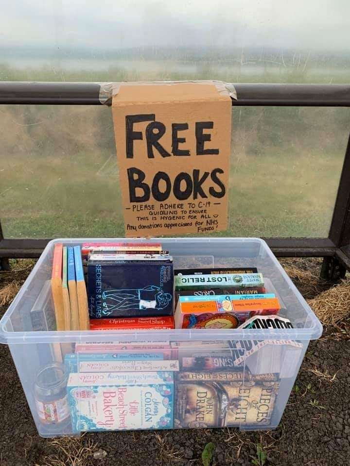 Books have been left at Nigg for people to help themselves.