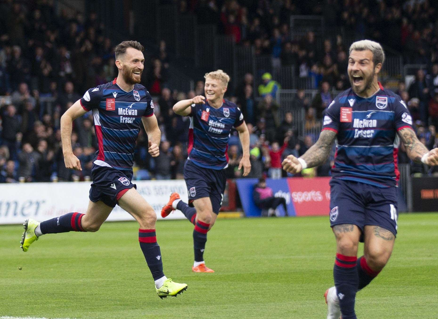 Joe Chalmers (left) put Ross County ahead early on against St Johnstone before eventually drawing 2-2.Picture: Ken Macpherson