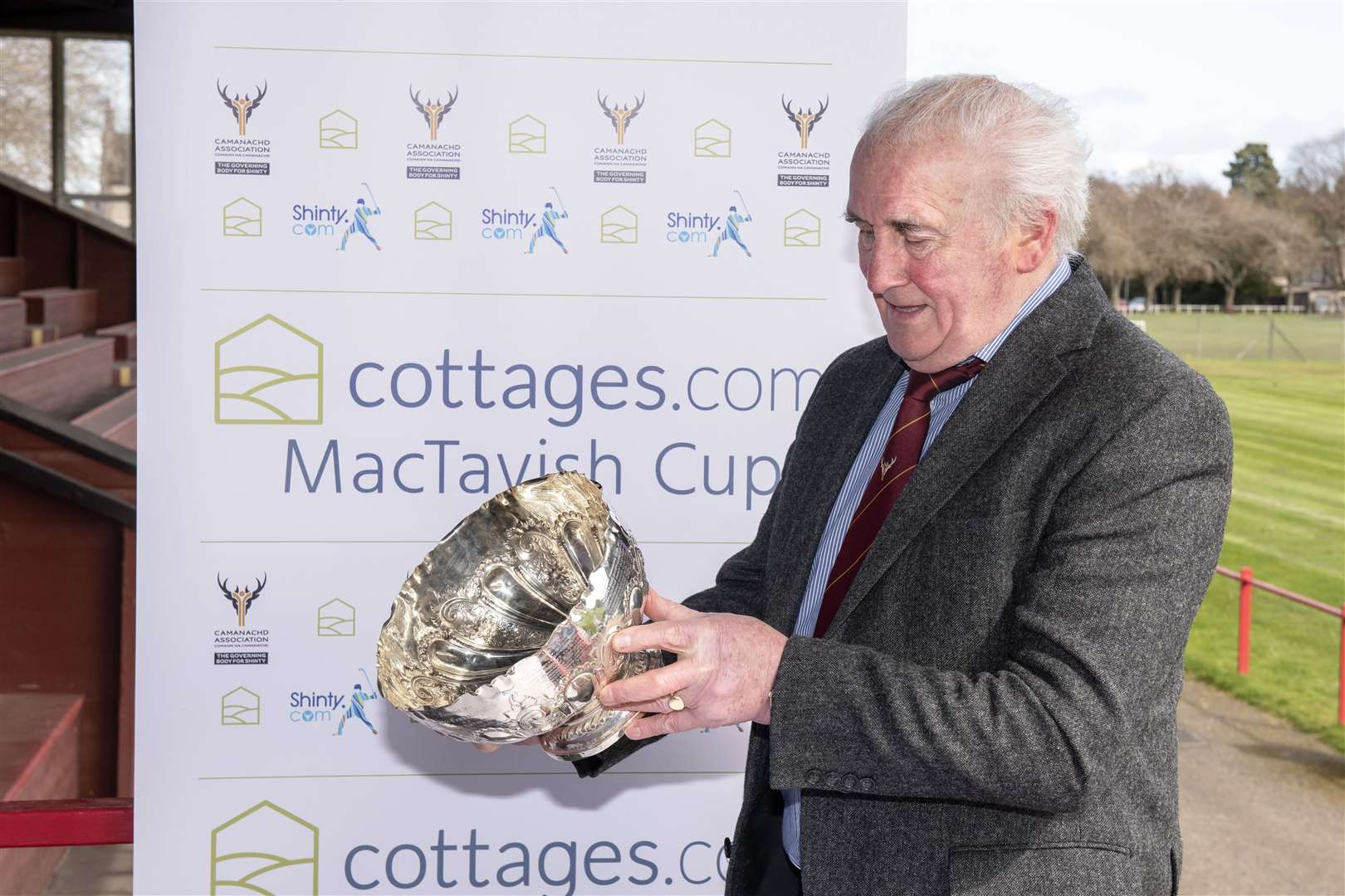 Camanachd Association Chieftain, John MacKenzie MBE. cottages.com MacTavich Cup first round draw, at the Bught, Inverness.