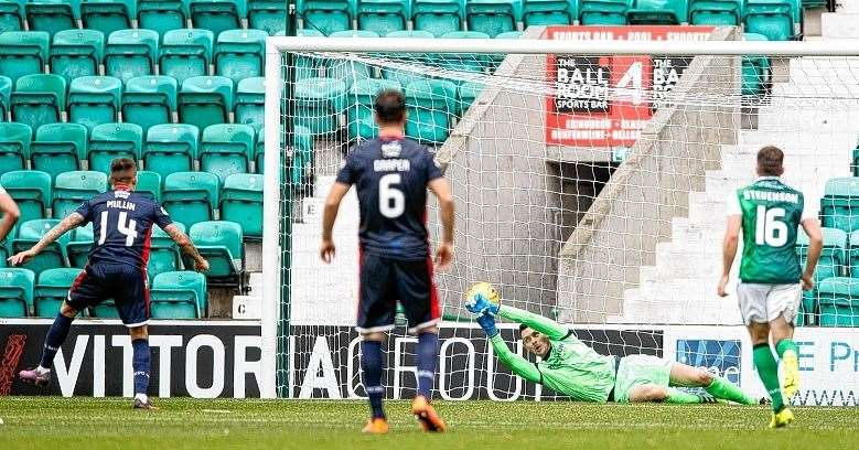 Ross Laidlaw, pictured in action for Hibernian against Ross County last season, is ready to fight for the number one jersey in Dingwall. Picture: Ken Macpherson